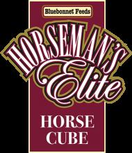Логотип Bluebonnet Feeds Horseman's Elite Horse Cube